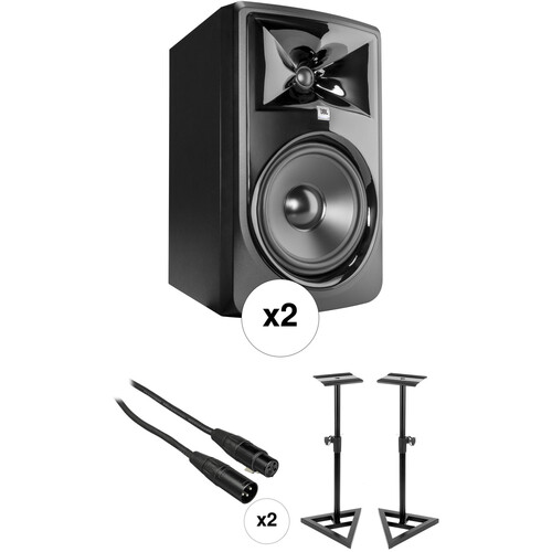 JBL 308P MkII Studio Monitor Kit with Stands and Cables (Pair)