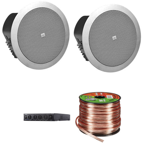 JBL Control 24CTM Ceiling Kit with Two Speakers, Mixer/Amplifier, and Cable