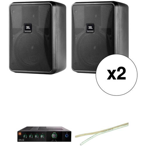 JBL Control 25-1 Compact Indoor/Outdoor Speakers, Wire & Mixer Amplifier Kit (Pair, Black)