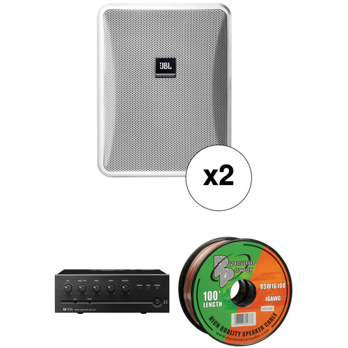 JBL Control 25-1 Compact Indoor/Outdoor Speakers, Wire & Mixer Amplifier Kit (Pair, White)