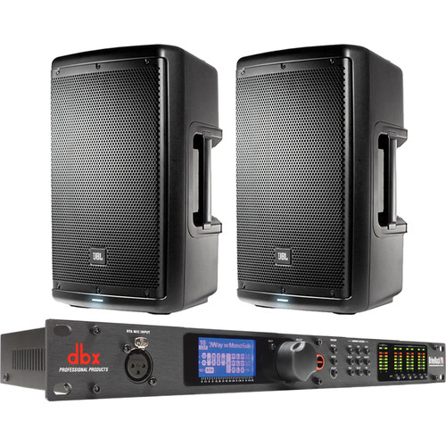 "JBL Dual EON610 10"" 2-Way Powered Speakers & dbx DriveRack PA2 Speaker Management System"