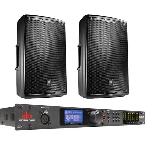 "JBL Dual EON615 15"" 2-Way Powered Speakers & dbx DriveRack PA2 Speaker Management System"