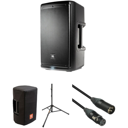 "JBL EON610 10"" Powered Speaker with Speaker Stand & Accessories"