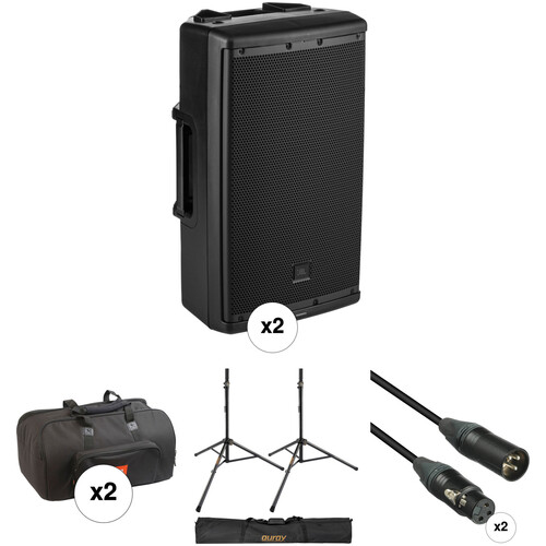 JBL Dual EON612 Powered Speaker Kit with 2 x Covers, 2 x Stands, 2 x Cables, and Speaker Stand Bag