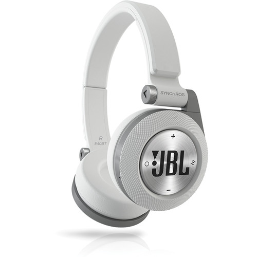 JBL Synchros E40BT Bluetooth On-Ear Headphones (White)