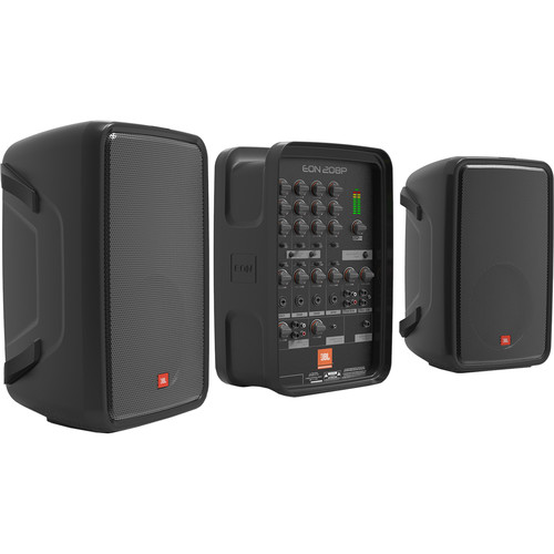 JBL EON208P Portable PA System Kit with Speaker Stands and Protective Bags
