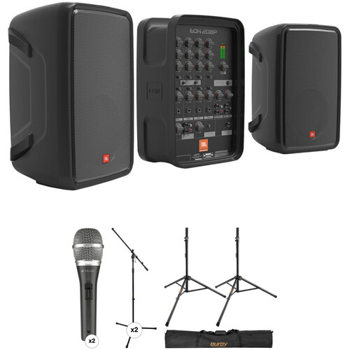 JBL EON208P Stereo PA and Dual Microphones Kit