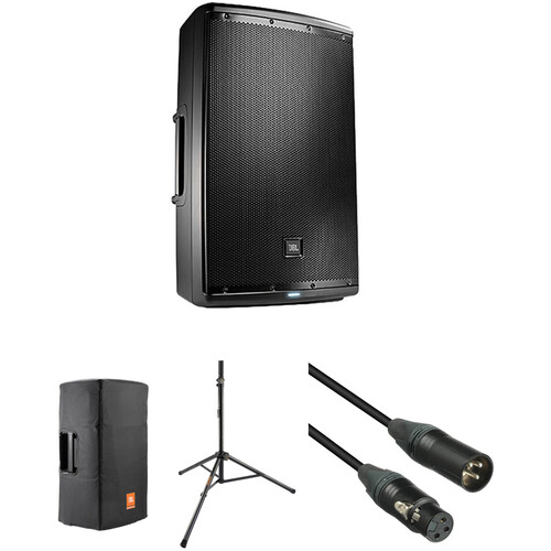 JBL EON615 Powered Speaker Kit with Cover, Stand, and Cable