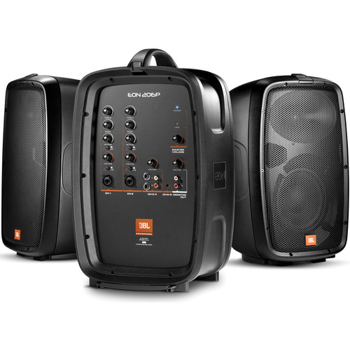 JBL EON 206P Portable PA System Kit with Stands, Bag, and Microphones