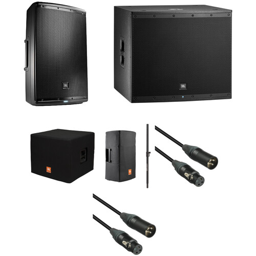 JBL EON Powered Speaker and Subwoofer Kit with Covers, Speaker Pole, and Cables