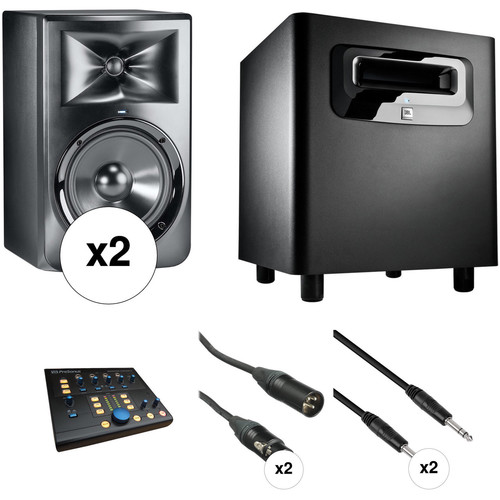 JBL LSR308 - 2-Way Powered Studio Monitor Kit with Subwoofer, Monitor Controller, and Cables