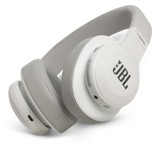 JBL E55BT Bluetooth Over-Ear Headphones (White)
