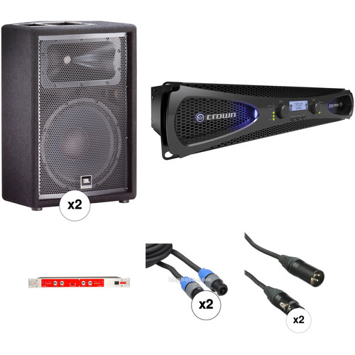 JBL JRX212 Speaker Kit with Crown Amplifier, Sonic Maximizer, and Cables