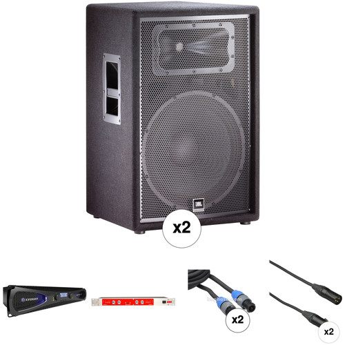 JBL JRX215 Speaker Kit with Crown Amplifier, Sonic Maximizer, and Cables