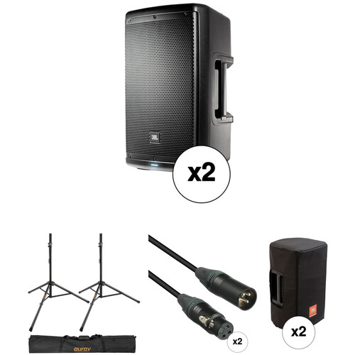 """JBL Dual EON610 10"""" Powered Speakers with Speaker Stands & Accessories"""