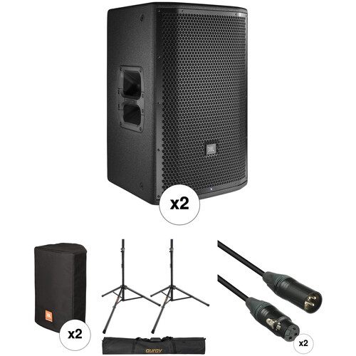 "JBL PRX812W 12"" Loudspeaker Pair with Stands, Covers, and Cables Kit"