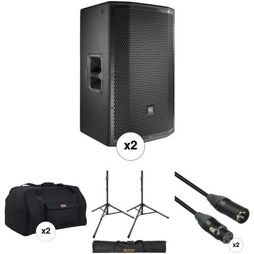 """JBL PRX815W 15"""" Loudspeaker Pair with Stands, Covers, and Cables Kit"""