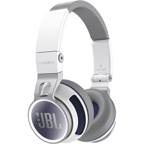 JBL Synchros S400BT Wireless On-Ear Bluetooth Stereo Headphones (White)