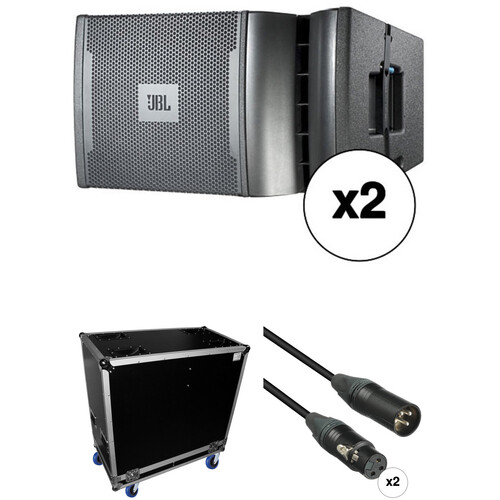 """JBL VRX932LAP Dual 12"""" Line Array Loudspeaker System with Case and Cables Kit (Black)"""