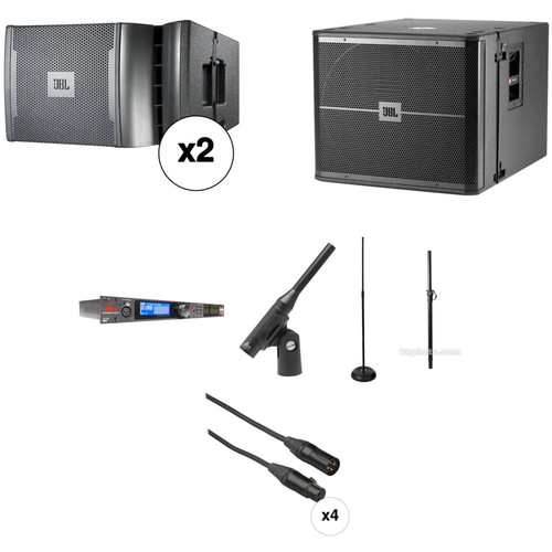 JBL VRX PA Kit with Loudspeaker Management System, Mic, Stands, and Cables