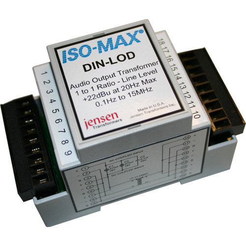 Jensen Transformers Iso-Max DIN-LOD - Single-Channel Line-Output Isolator (Extra-High Output, DIN Rail)
