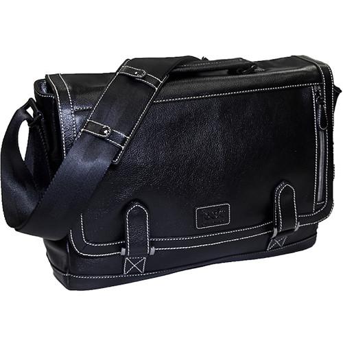 """Jill-E Designs Bennett Leather Messenger Bag for 15"""" Laptop (Black)"""