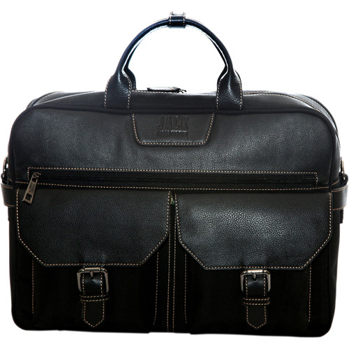 "Jill-E Designs Andrew Leather Briefcase for 15"" Laptop (Black)"
