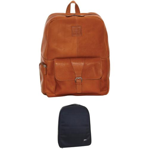 "Jill-E Designs JACK Hemingway 15"" Laptop Tan Leather Backpack/Camera Insert (B&H Kit)"