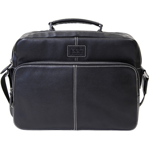 "Jill-E Designs Jeremy 13"" Laptop Black Leather Bag with Camera Insert (B&H Kit)"