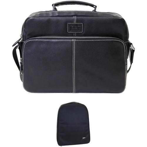 "Jill-E Designs Jeremy 13"" Laptop Black Leather Bag with Camera Insert (B&H Kit)"