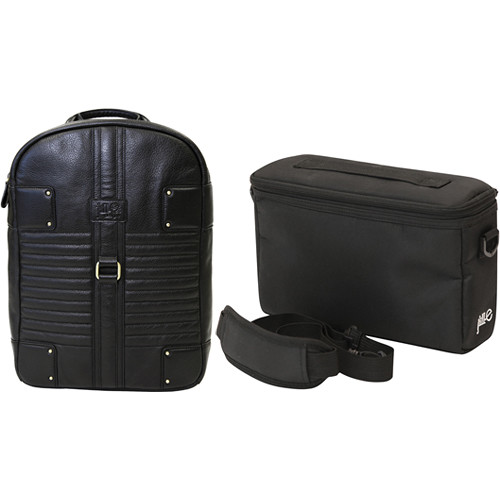 Jill-E Designs Olivia Black Leather Laptop Bag and E-Go Camera Insert (B&H Kit)