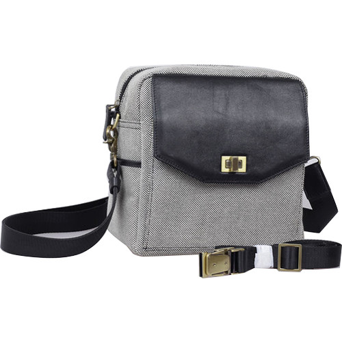 Jo Totes Granada Camera Bag (Black & White, Canvas & Leather)