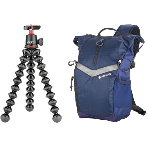 Joby Gorillapod 3K Flexible Mini-Tripod with Ball Head and Vanguard Reno 34 DSLR Sling Bag (Blue) Kit