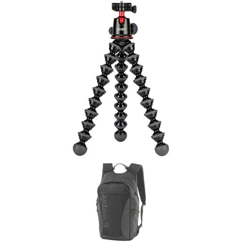 Joby GorillaPod 5K Flexible Mini-Tripod with Ball Head and Lowepro Photo Hatchback 16L AW Backpack (Slate Gray) Kit