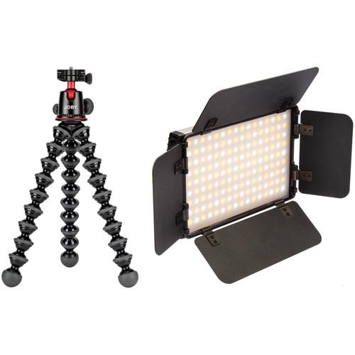 Joby GorillaPod 5K Flexible Mini-Tripod with Ball Head and Genaray Ultra-Thin Bicolor 144 SMD LED On-Camera Light Kit