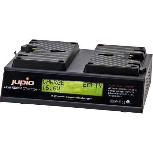 Jupio 16.8V, 2A Charger for Broadcast Batteries (Gold-Mount)