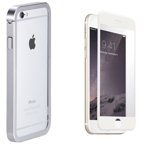 Just Mobile AluFrame Case with Screen Protector Kit for iPhone 6/6s (Silver Case, White Protector)