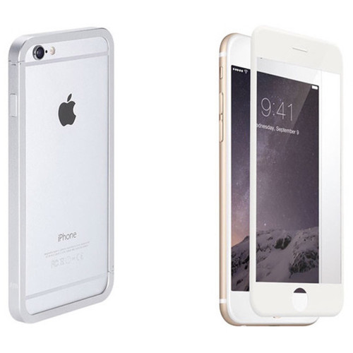 Just Mobile AluFrame Case with Screen Protector Kit for iPhone 6 Plus/6s Plus (Silver Case, White Protector)