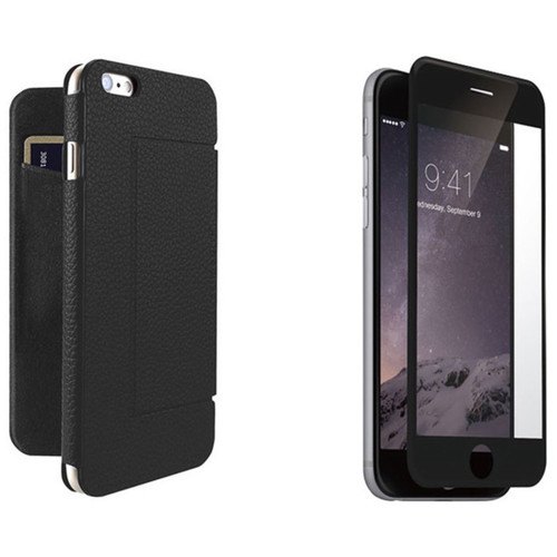 Just Mobile Black Quattro Folio Case with Black Screen Protector Kit for iPhone 6 Plus/6s Plus