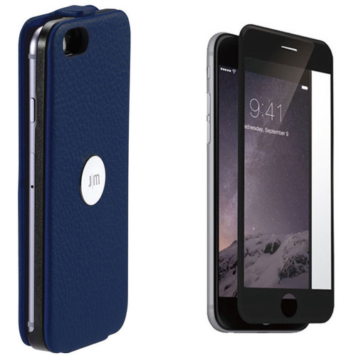 Just Mobile SpinCase with Screen Protector for iPhone 6/6s (Blue Case, Black Screen Protector)