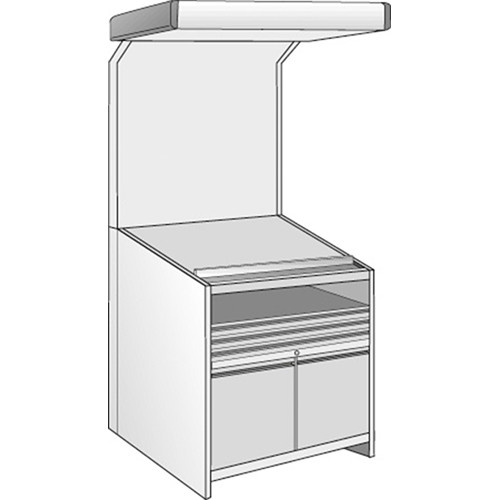 Just Normlicht Color proofStation Viewing Station for 0B Formats (1 Shelf, 3 Drawers, 1 Door-Set)
