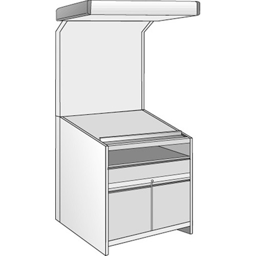 Just Normlicht Color proofStation Viewing Station for 0B Formats (1 Shelf, 1 Drawer, 1 Door-Set)
