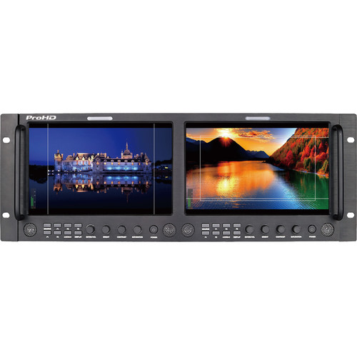 """JVC Dual 9"""" Full HD Broadcast Rack LCD Monitor (4 RU)"""