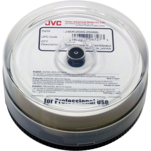 JVC WaterShield Inkjet Printable LTH Type Blu-ray Recordable Discs (Spindle of 25)