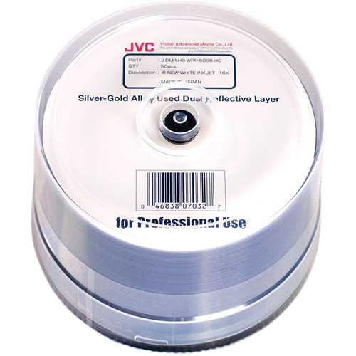 JVC Dual-Reflective Layer Archival 16x Recordable White Hub Inkjet Printable DVD-R (50-Pack)