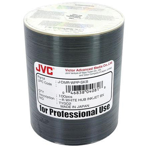 JVC DVD-R 4.7 GB White Inkjet Hub-Printable Recordable Discs (Pack of 100)