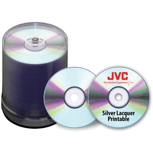 JVC Premium 16x Recordable Silver Lacquered Thermal Printable DVD-R (100-Pack)