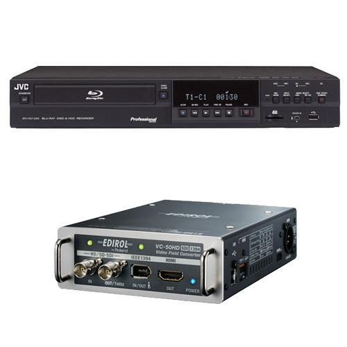 JVC SR-HD1250US Blu-ray Disc & HDD Recorder with VC-50HD Video Field Converter Kit