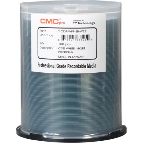 CMC Pro 700MB CD-R PrintPlus White Matte Printable 48x Discs (Pack of 100)