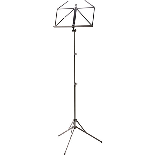 K&M Height-Adjustable Music Stand with Music Desk (Black)